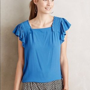 Maeve ruffle sleeve epaulet top Sz 6 Blue Sold out